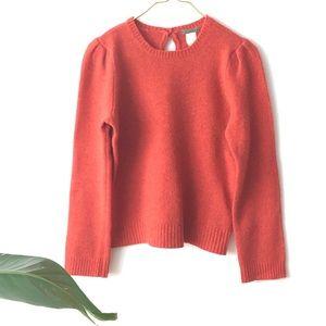 J. Crew Puff Shoulder 100% Wool Orange Sweater